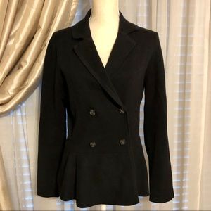 EUC Fit & Flare Peplum Double Breasted Knit Blazer